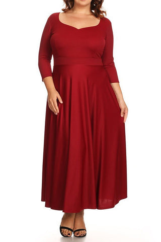 Plus Size 3/4 Sleeve Maxi Dress In A Relaxed Style With A Scoop Neck - Indigo