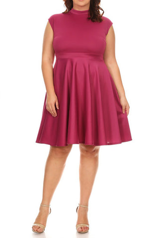 Plus Size Cap Sleeves  Fit And Flare Dress
