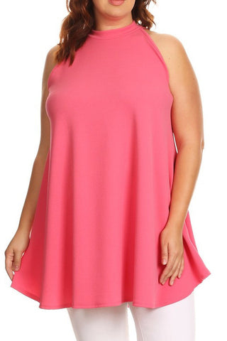 Plus Size Sleeveless Long Body Top With A Mock Neck [SALE]