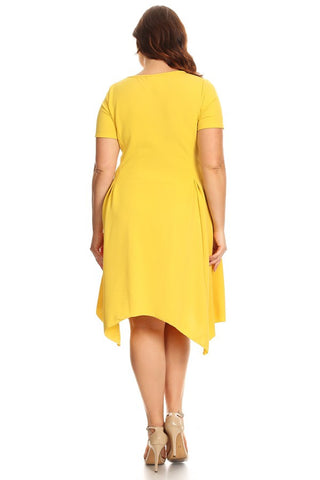 Plus Size Solid Midi Dress In A Fit And Flare Style With A Round Neck - Yellow