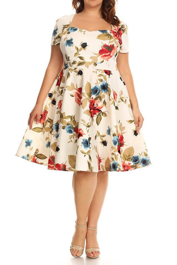 Plus Size Floral Printed Fit And Flare Dress