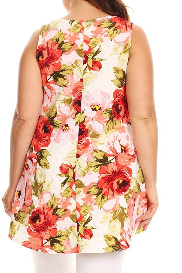 Plus Size Sleeveless Floral Printed Top [SALE]