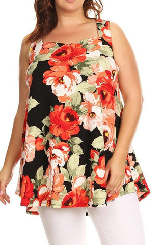Plus Size Sleeveless Floral Printed Top