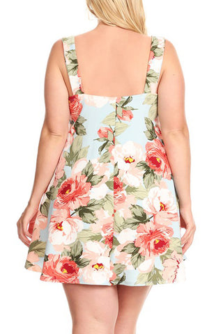 Plus Size Summer Fun Floral Flare Dress