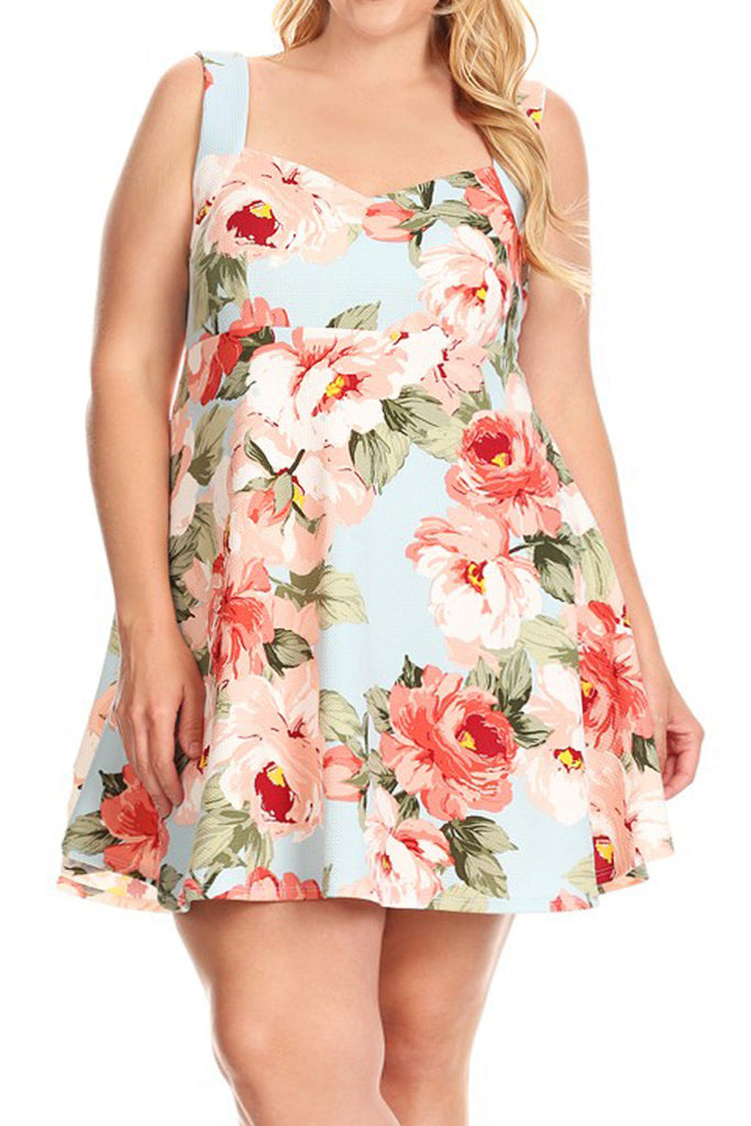 e8f29b3ed8c Plus Size Summer Fun Floral Flare Dress – Plussizefix
