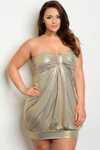 Plus Size Shine Gold Cocktail Tube Dress