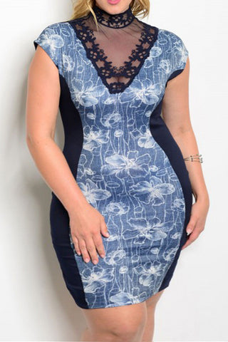 Plus Size Short Sleeve Bodycon Dress Lace Yoke - Navy