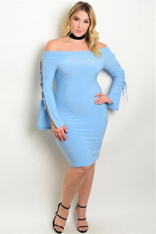 Plus Size Off The Shoulder Long Bell Lace Up