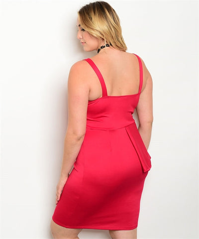 Gorgeous Peplum Strappy Plus Size Dress - Red