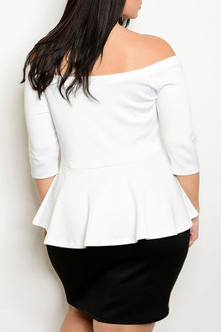 Elegant Off Shoulder Peplum Plus Size Dress