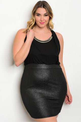 Metallic Banded Sleeveless Plus Size Dress