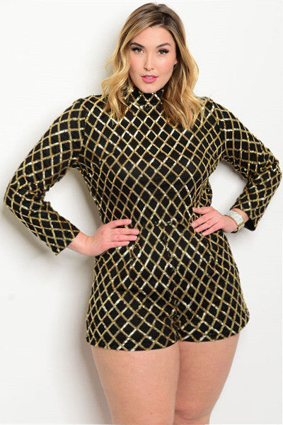 be7bf0ca9f13 Plus Size Long Sleeve Mock Neck All Over Sequins Romper - Black Gold ...