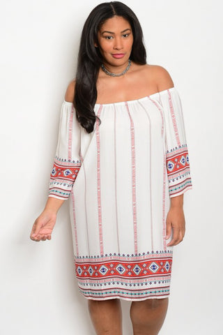 Plus Size Off Shoulder 3/4 Sleeve Print Tunic Dress - Ivory Jade Coral