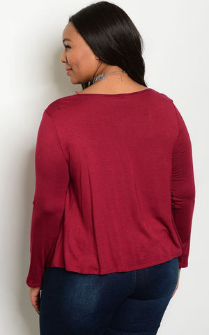 Plus Size Scoop Neck Lace Up Front Long Sleeve Top - Wine