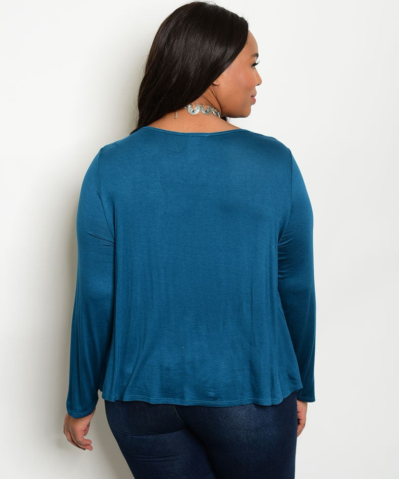 Plus Size Scoop Neck Lace Up Long Sleeve Top - Teal