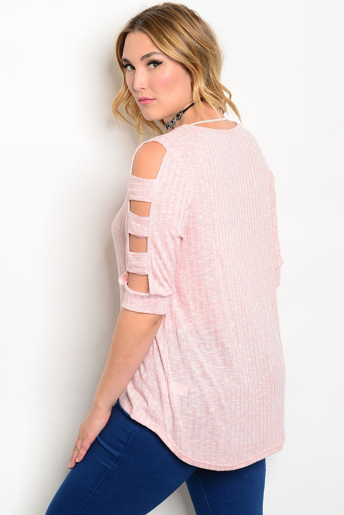 Plus Size Scoop Neck 3/4 Cutout Sleeve Fitted Top - Blush