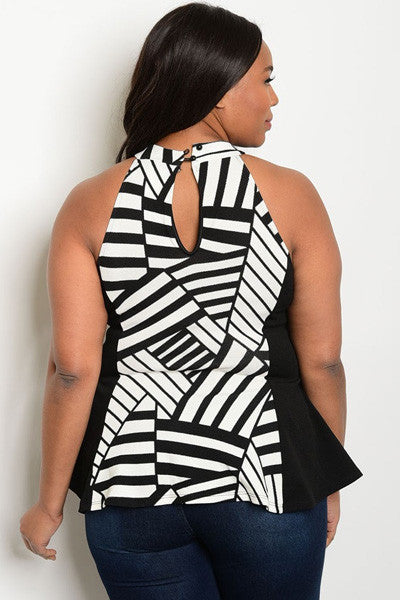 Plus Size Round Neck Sleeveless Print Top - Black White