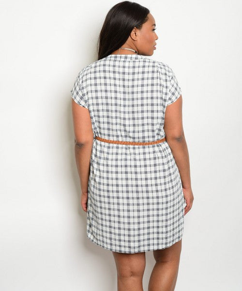 Belted Adorable Button Up Plus Size Dress - White