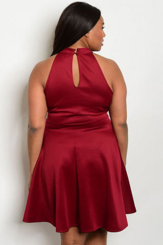 Sexy Sleeveless Mesh Front Plus Size Dress - Burgundy