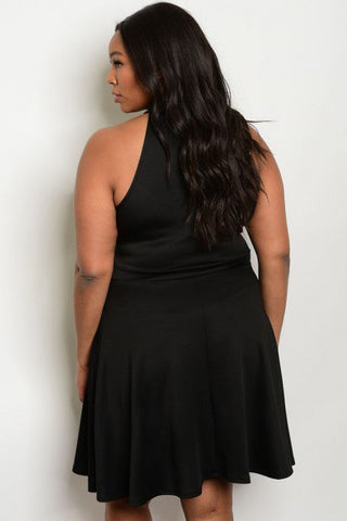 Sexy Sleeveless Mesh Front Plus Size Dress - Black