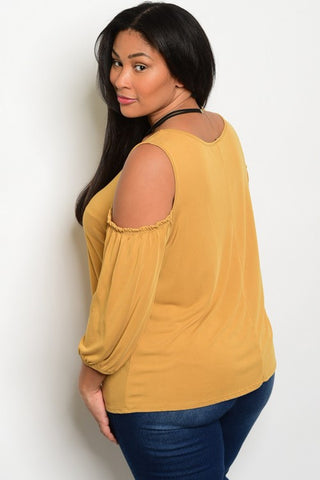 Plus Size Scoop Neckline 3/4 Sleeve Cold Shoulder Top - Mustard