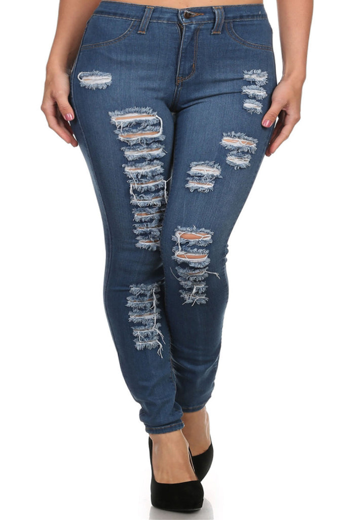 Plus Size High Waist Slashed Blue Denim Jeans