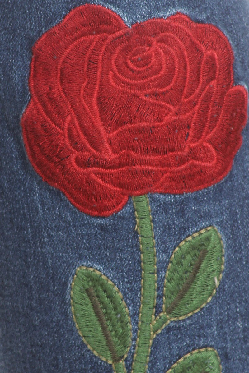 Plus Size Applique Rose Design Denim Jeans