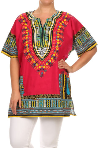 Plus Size Radiant Tribal Print Tunic