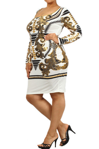 Plus Size Designer Gold Italian Print Dress