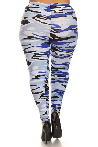 Vivid Camo Print Plus Size Leggings