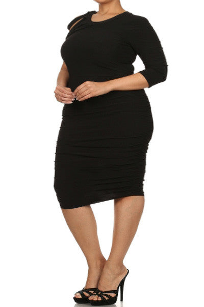 Plus Size Asymmetric Shoulder Bodycon Midi Black Dress