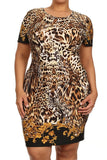 Plus Size Leopard Shift Scoop Neckline Dress