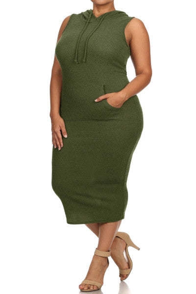 Plus Size Ribbed Kim K Solid Sleeveless Hoodie Midi Dress