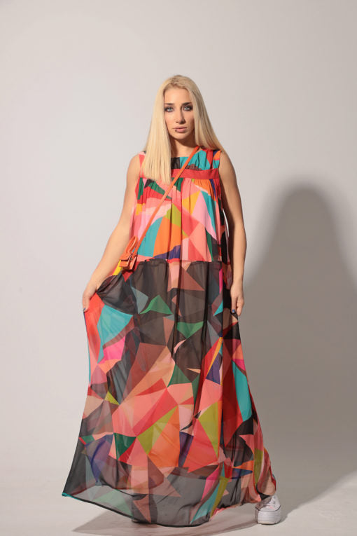Plus Size Chiffon Geometric Pattern Dress