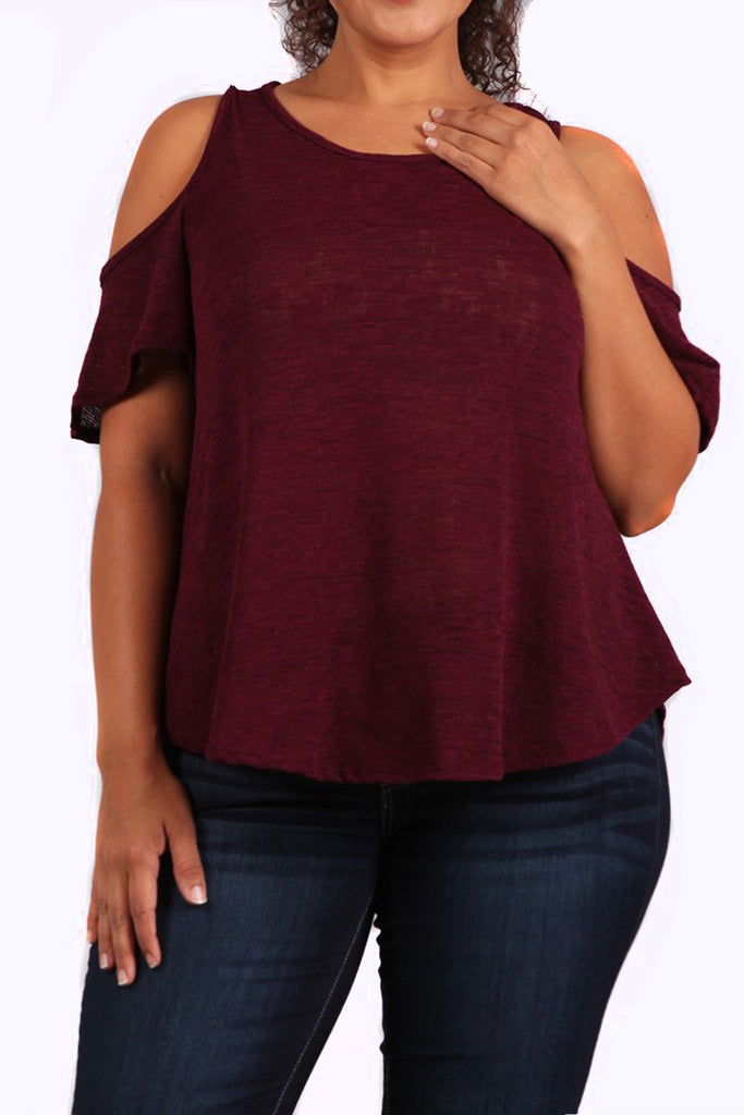 Sexy Cold Shoulder Plus Size Top