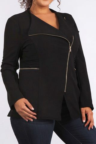 Sleek Ribbed Panel City Girl Zip Plus Size Jacket