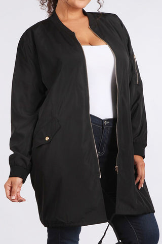 Army Of One Long Bomber Plus Size Jacket