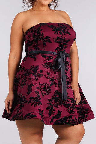 Satin Floral Flare Waist Tie Plus Size Dress