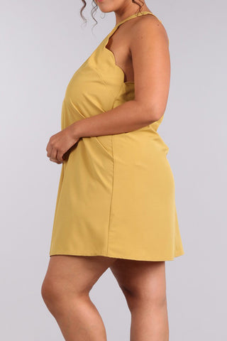 Wavy Cutaway Sleeves Plus Size Shift Dresss