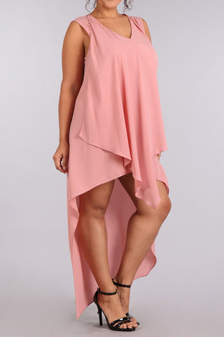 Draped Dip Hem Plus Size Chiffon Dress