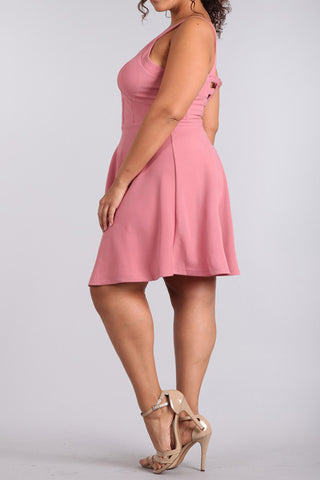 Hot Gal Cut Out Plus Size Flared Dress
