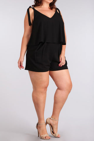 Plus Size Cutie Side Pocket Black Romper