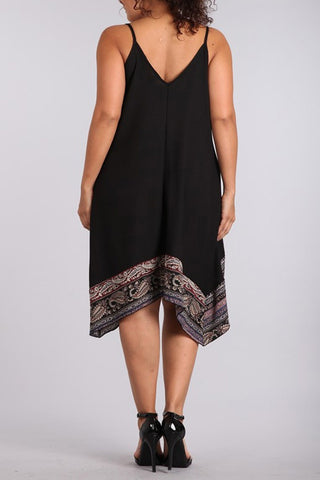 Plus Size Solid Sleeveless Midi Dress With Paisley Printed - Black