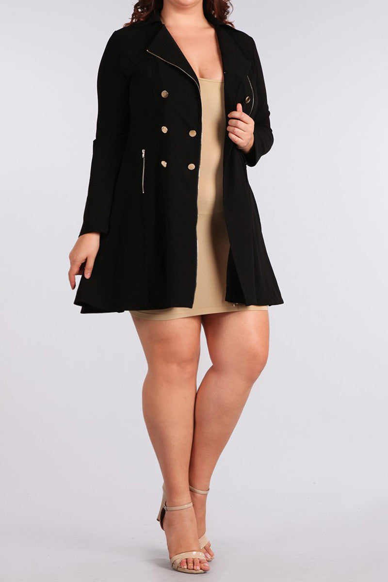 Gilded Buttons Plus Size Flared Midi Jacket
