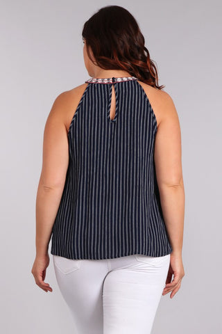 Plus Size Stripe Waist Length Sleeveless Top In A Relaxed Style - Blue
