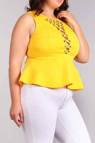 Cage Front Peplum Sleeveless Plus Size Top