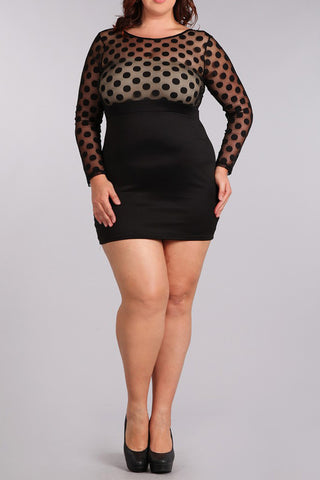 See Through Cutie Polka Dot Bodycon Plus Size Dress