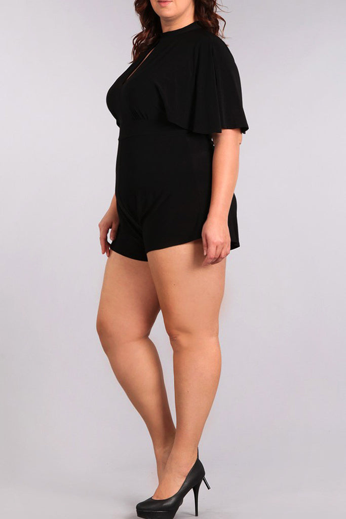Adorable Solid Keyhole Detail Plus Size Romper [SALE]