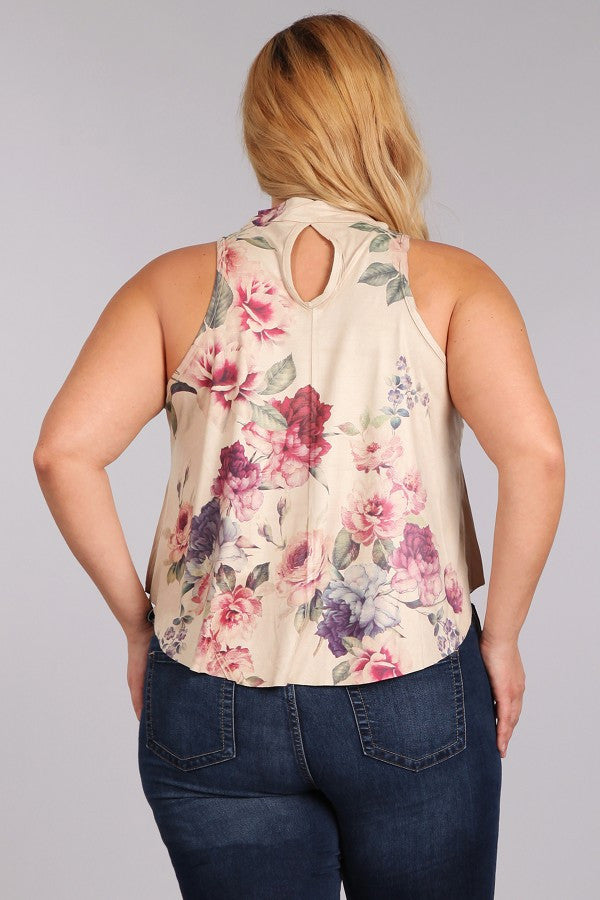 Plus Size Floral Printed Sleeveless Top In A Relaxed Fit - Tan