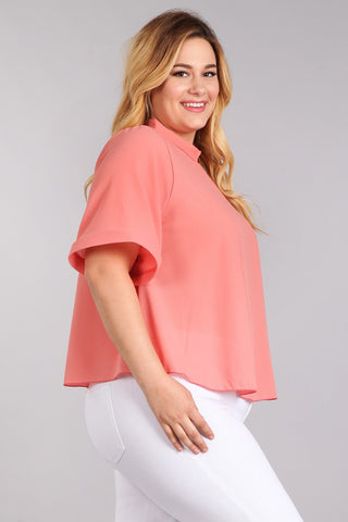 Dashing Sheer Roll Up Sleeve Plus Size Top [SALE]